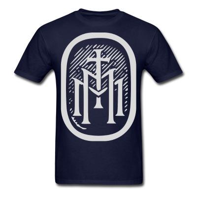 the majestys men mens tmm bold monogram front navy blue tshirt