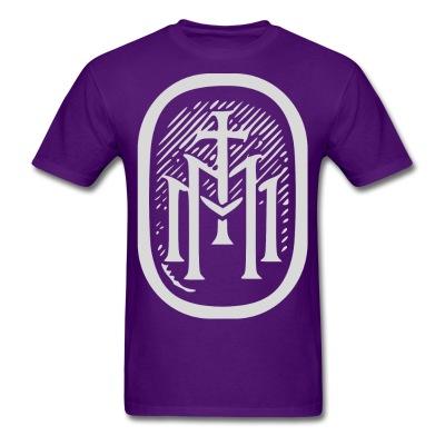 the majestys men mens tmm bold monogram front purple tshirt