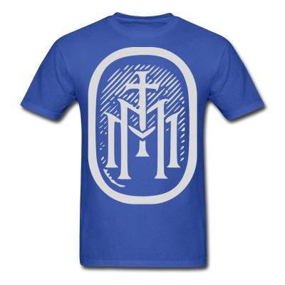 the majestys men mens tmm bold monogram front royal blue tshirt