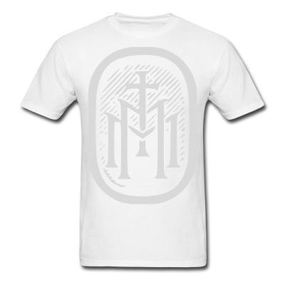 the majestys men mens tmm bold monogram front white tshirt